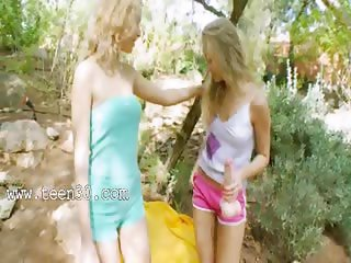 blond princesses dildoing in a forest