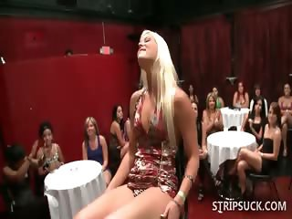 Horny sluts sucking stripper's schlong