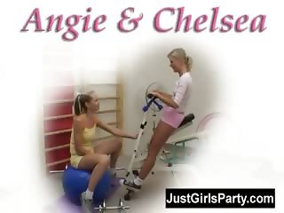 Two teens having lesbian sex at the gym