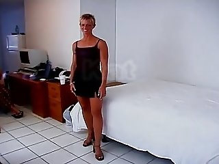 Muscle Milf Fucked By A Man And by a woman With Strap-on