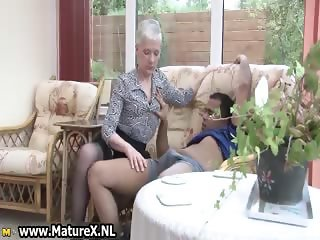 Old experienced woman is enjoying part1