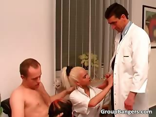 Naughty old studs fucking two young part1