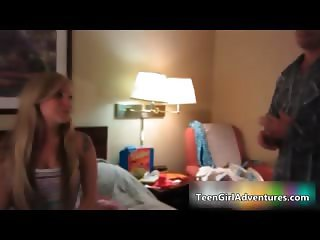 Cute blonde girl gets horny talking part3