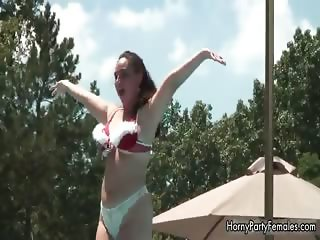 Horny busty brunette girl shows her part4