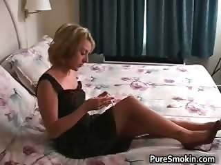 Foxy blonde sexy foxy smoking part3