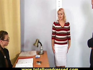 Shocking nude job interview for busty blonde