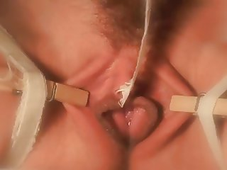 Clit tickled with a feather