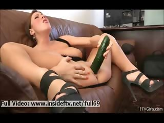 Katherine _ Amateur babe masturbating her pussy with a huge cucumber