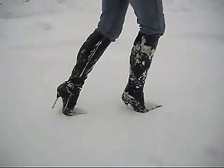 Sexy boots in snow!