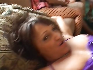 Middle-aged women in lingerie have hot orgy in living room