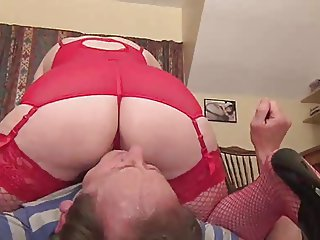red UK milf wearing red stockins on your face