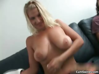 Busty blonde whore gets horny stripping part4