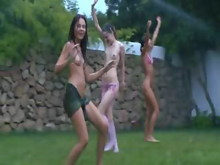 latvian chicks watersports in the garden