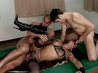 TS in knee boots gets banged by 2 guys