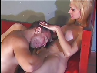 Busty blonde tranny gets butt fucked and his cock and huge tits sucked