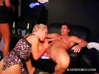 Dirty party slut sucks and rides huge dick at CFNM orgy