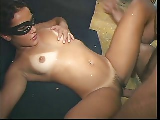 Horny latina gets pussy fucked and massive cock in her mouth to suck