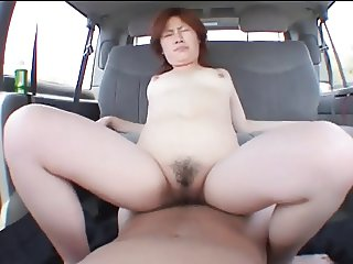 Asian slut gets dildo fucked before giving head then riding dick for a creampie