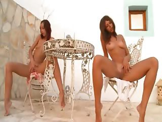 Two russian babysitters naked outdoor