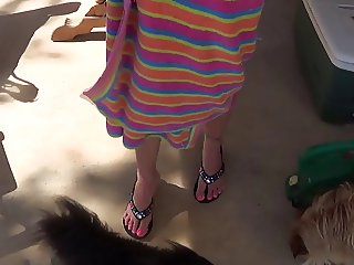 quick flash of feet tits and pussy