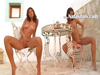 Two russian chicks naked public