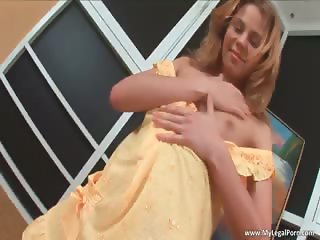 Attractive blond girl Cristina stripping part1