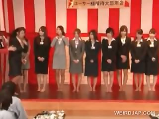Asian cuties showing their sexy bodies at a meeting