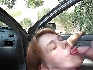 Amateur MILF Blow Job Outside Eats Cum