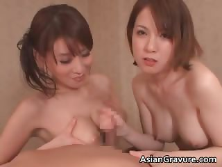 Gorgeous asian brunette babes suck stiff part6