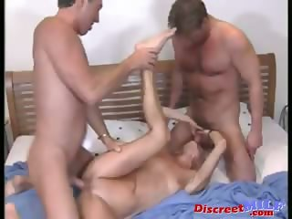 Mature kinky MILF get fucked by two guys