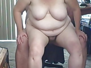 getting fucked on a chair & finished cowgirl style.