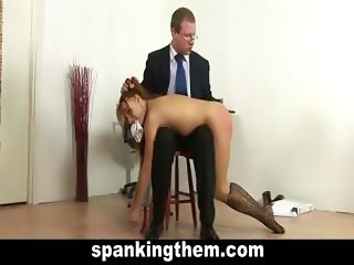 Hard spanking lesson for bad college girl