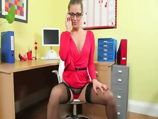 Incredibly hot secretary only posing
