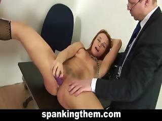 Spanked college babe