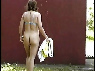 chubby wife walking nude in the camping