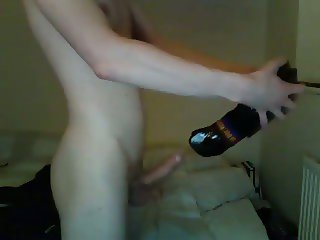 Skinny White boy wanks his cock with a boxing glove