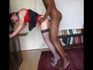 BBC Deep throat sucking & ass pounding for a crossdresser