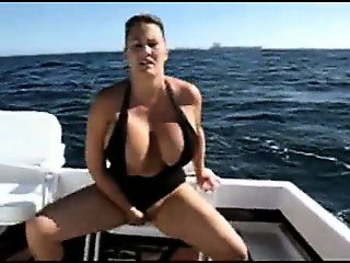 Milf with big natural boobs sits on her dildo in my boat - homemade video