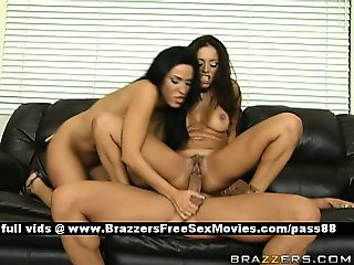 Two amazing brunette babes on the couch get their wet pussy fucked hard