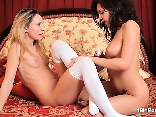 Cute blonde and brunette babes get horny part5
