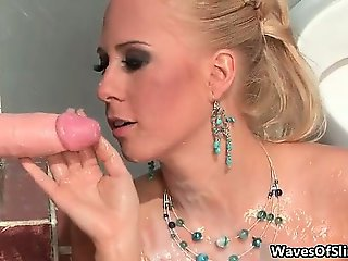 Dirty blonde slut goes crazy sucking part3