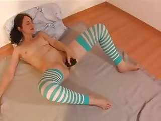 Amateur Wet and creamy cucumber orgasm