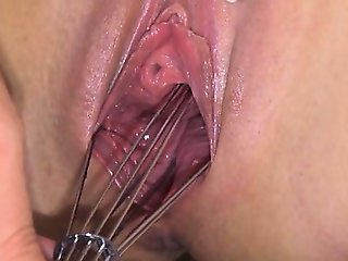 Weird kitchen toy in her vagina hole