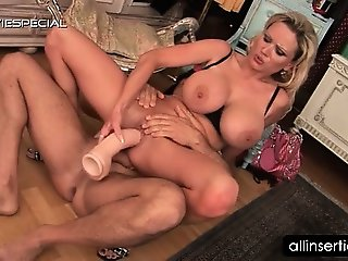 Mature busty slut jumps dick and works giant dildo