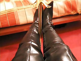 Leather thigh boots and gloves