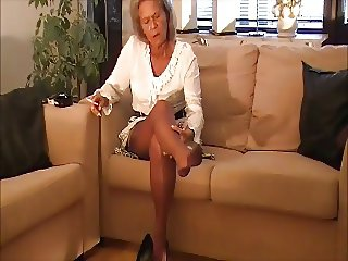 granny smoking and nylon