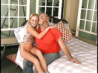 Old guy taps blonde's sweet ass with hangar