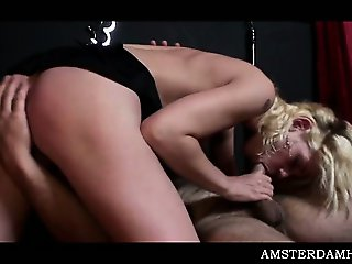 Fine ass Amsterdam hooker sucks fat cock and takes it hard