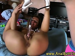 Big booty slut dp anal toying