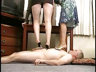 2 Goddesses Trample, Foot and Heel Fetish